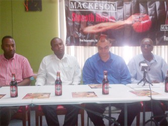 The TGH inter-ward tournament's launch committee from left to right- Director of the Eyefull Entertainment Frank Parris, Mackeson Brand Manager Jamaal Douglas, Tournament Public Relations Officer Kirk Jardine and TGH Chairman Dennis Clark.