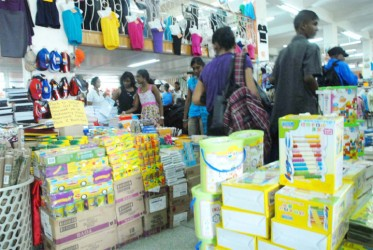 School supplies on display at Guyana Stores
