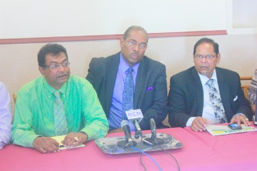 From left at the press conference are Khemraj Ramjattan, Nigel Hughes and Moses Nagamootoo