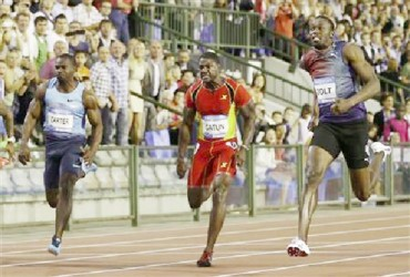 Jamaica's Usain Bolt winning the season finale men's 100m in Brussels yesterday.