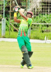 Trevon Griffith smashes one out of Bourda for six