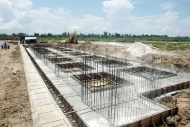 The foundation of the Northern VIP stand at Leonora