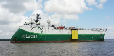 The Seismic survey ship Polarcus Asima anchored in Port Georgetown yesterday.