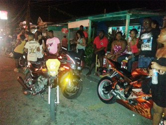 Part of the large crowd of bikers and friends gathered outside the Bagotstown location for the wake for biker Kirk Davis last night.