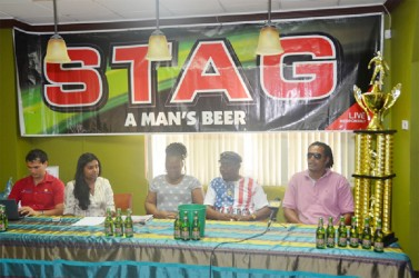 Members of the Troy Cook Memorial Launch committee from left to right - Stag Beer Brand Representative John Maikoo, Ansa McAl PRO Darshanie Yussuf, Camptown Assistant Secretary Treasure Aferya Denny, Camptown Founder Rudy Bishop and Event Coordinator Richard Mittelholzer.