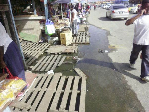 A view of the stagnant water under numerous stalls