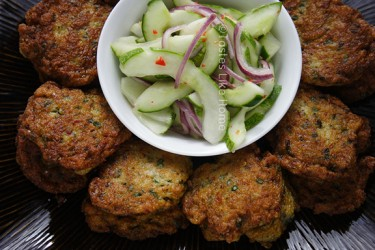Thai Fish Cakes with Cucumber Salad (Photo by Cynthia Nelson)