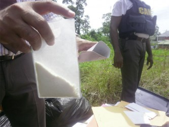 A packet of cocaine which was discovered hidden in a letter.