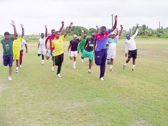The  Essequibo team going through their fitness paces yesterday