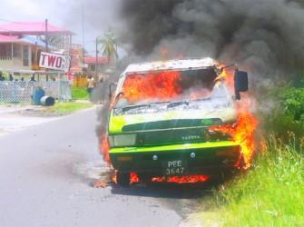 The bus on fire  (Juanita Hooper photo)