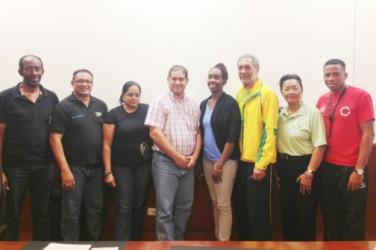 The new executive of the Caribbean Regional Badminton Confederation (CAREBACO) with Guyana's Gokarn Ramdhani second from left.