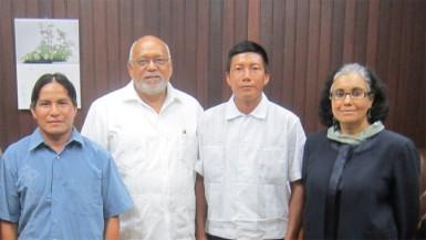 President Donald Ramotar (second from left) with (from left) Toshao Gregory Thomas, Deputy Toshao Tony Andrew and attorney Melinda Janki