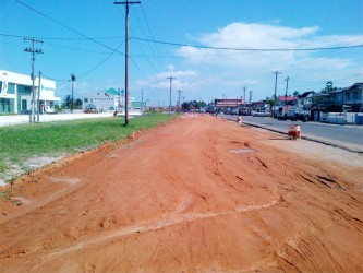 This section of the highway at Diamond is currently covered by loam and still has a way to go before completion.
