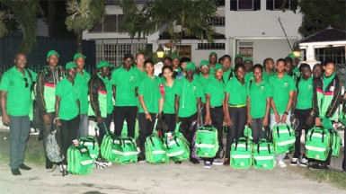 The national team yesterday morning at the Olympic House on High Street before leaving for the South American Youth Games (Orlando Charles photo).