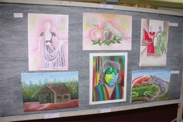 A section of the art on display which was done by schoolchildren