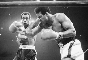 Ken Norton (left) and Muhammad Ali during one of their bouts