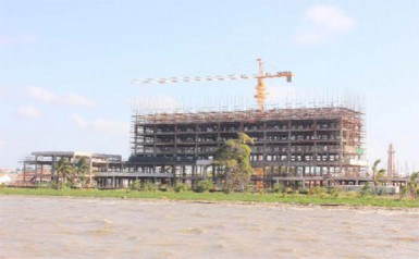 A view of the building that will be the Marriott Hotel (Stabroek News file photo March 2013)
