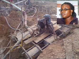 Traceann Boodie (inset) and her six-inch dredge