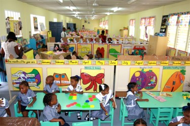 Students in one of the classrooms of the recently completed East Street Nursery School, which was rebuilt at a cost of $38M.