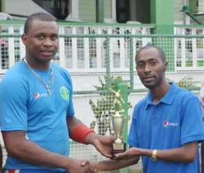 Christopher Barnwell receiving the Man-of-the-Match trophy