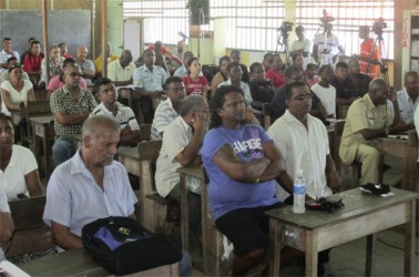 Residents from West Demerara in attendance at a Police/Community Outreach following a spate of serious crime in the area.