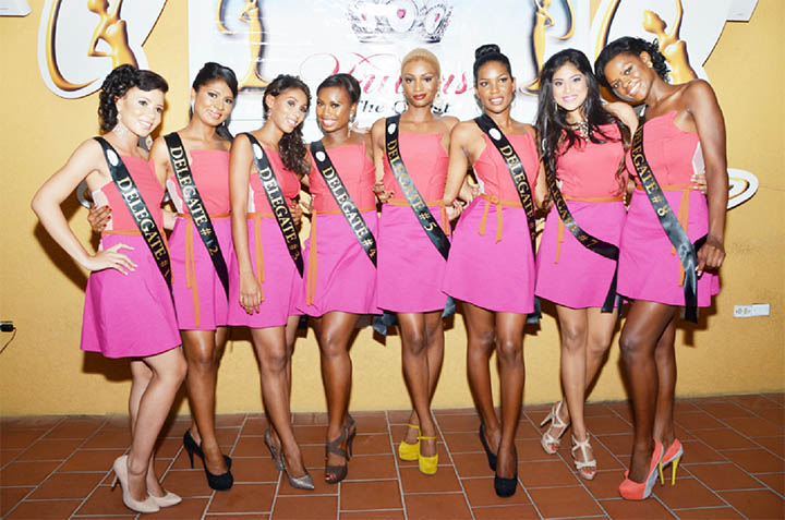The eight Miss Guyana Universe contestants after they were sashed on Sunday night.