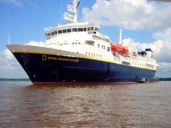 The National Geographic Explorer cruise ship moored in the Essequibo River
