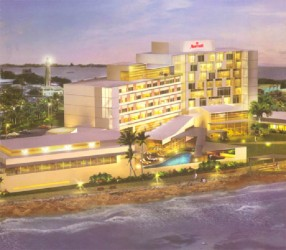 An artist's rendition of what the completed Marriott Hotel would look like
