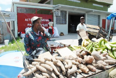 Food Security: Ground provision on sale at La Penitence market on Sunday