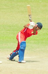 Devendra Bishoo plays a delivery to leg during his innings of 72 yesterday. (Orlando Charles photos)