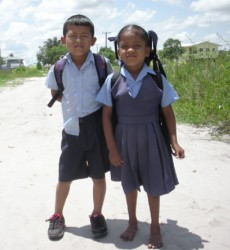 A brother and sister on their way to school. (Arian Brownphoto)