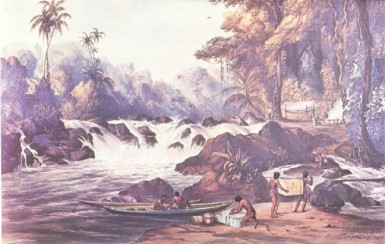 Amerindians portering at Christmas Cataract for the Schomburgk expedition, 1837 (Schomburgk-Bentley)