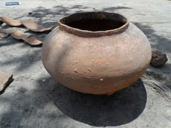 The burial urn after it was excavated in June.