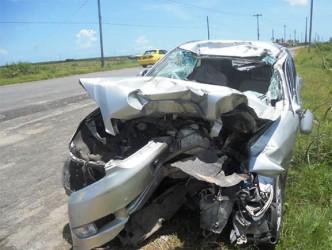 Phyzul Sattaur's wrecked car