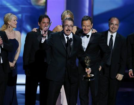 Executive producer Vince Gilligan accepts the award for Outstanding Drama Series for ''Breaking Bad'' at the 65th Primetime Emmy Awards in Los Angeles September 22, 2013. Credit: Reuters/Mike Blake