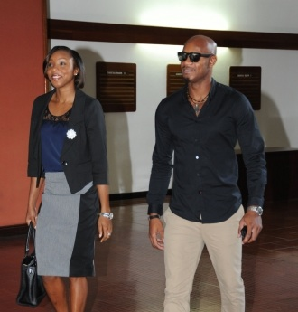 Sherone Simpson and Asafa Powell yesterday