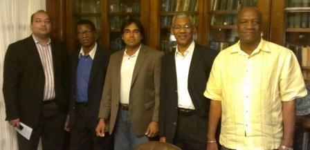 From left are Rab Mukraj, Dr Asquith Rose, Dr Tarron Khemraj, APNU Leader David Granger and APNU MP Joseph Harmon