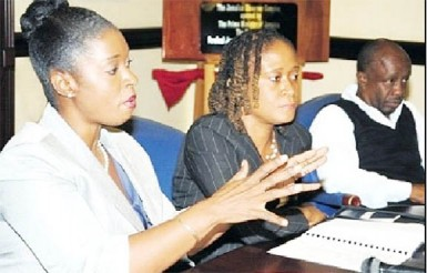 Dr Tamika Benjamin, national mathematics co-ordinator in the education ministry (left), explains the rationale for the National Mathematics Policy at this week's Jamaica Observer Monday Exchange. With her are Novelette Plunkett, head of the Mathematics Department at The Mico University College, and Byron Buckley, director of communications at the education ministry.