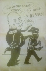 In this pamphlet, allegedly circulated by the PPP, a caricature of AFC Chairman Nigel Hughes is seen encouraging a bandit to commit crimes