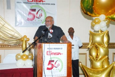 President Ramotar addressing Wednesday evening's GMSA 50th Anniversary Dinner at the Pegasus Hotel.