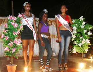The contestants after introducing themselves to the audience. From left: Gracelyn Campbell, Lensey Adolph and Malika Russell.