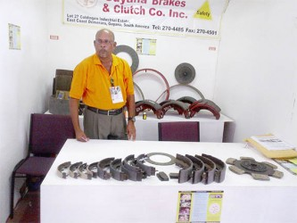 Company Director for Guyana Brakes and Clutch Co, Ushkumar Purandat, showcases the remanufactured brakes and clutches.