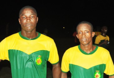 Goalscorers Sherwin Caesar, left and Delwyn Fraser.