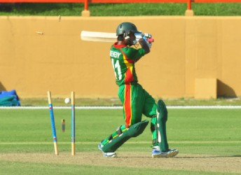 Bangaldesh skipper Mehedi Hasan Miraj is spectacularly bowled by Alzarri Joseph (mot in picture) Orlando Charles photo)