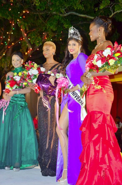 From left: Third runner-up Carlea Chappel, second runner-up Ayana Whitehead, Miss Guyana Universe Katherina Roshana and first runner-up Alicia Bess