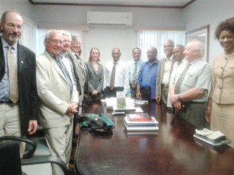 Agriculture Minister Dr. Leslie Ramsammy (seventh from right) and Canadian High Commissioner Dr Nicole Giles (eighth from right) flanked by Canadian farmers and IICA's Representative in Canada Audia Barnette