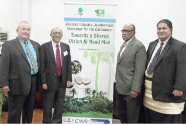 Associate Minister for Agriculture, The Honourable Lautafi Fio Selafi Purcell,Samoa; Mr Michael Hailu, Director, CTA; Dr Arlington Chesney, Executive Director CARDI; and Honourable Minister of Agriculture Sione Sangster Saulala, Tonga (CTA photo)