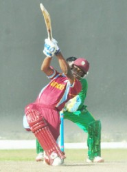 Guyana's Shimron Hetemeyer hits a massive six during his cameo.