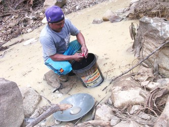 A miner uses a rag to squeeze out the mercury from the amalgam of gold and mercury at Isseneru last week.
