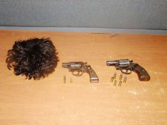The firearms police say were recovered at the scene of the confrontation on Saturday night (Police photo)